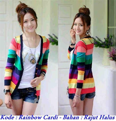 Grosir Cardi Rajut Termurah grosir baju korea murah rainbow cardi knitwear modenagrosir
