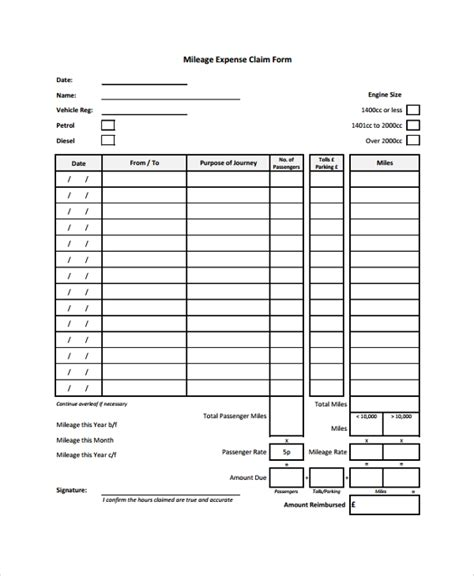 mileage expense form template free sle expense form 7 documents in pdf word