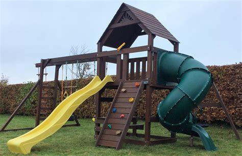 swing set with tube slide climbing frame spiral tube slide monkey bars nest swing