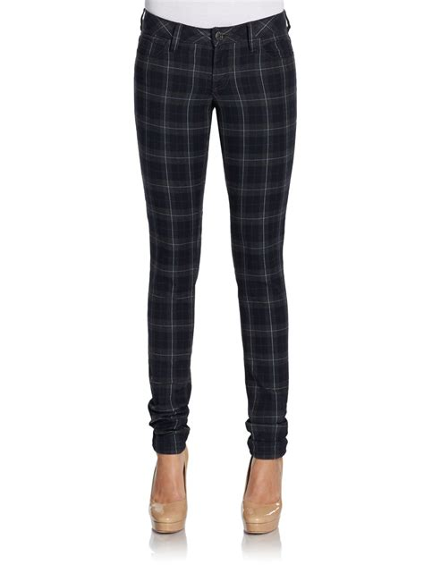 Poyid Panst Navy Sf l agence plaid in blue navy plaid lyst