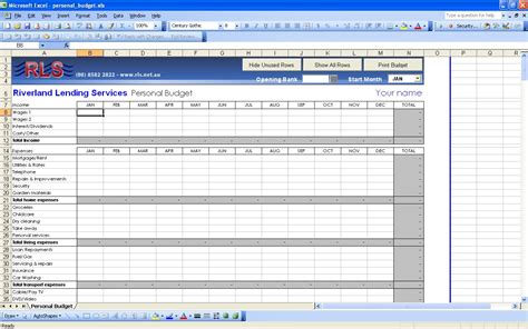 Financial Spreadsheet Template by Personal Budget Template Mobawallpaper