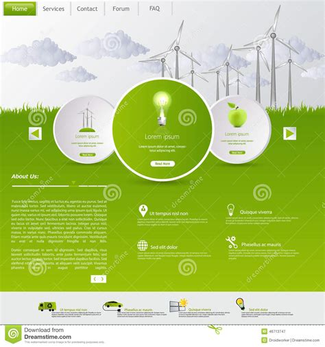 website layout vector free wind energy eco website template stock vector image