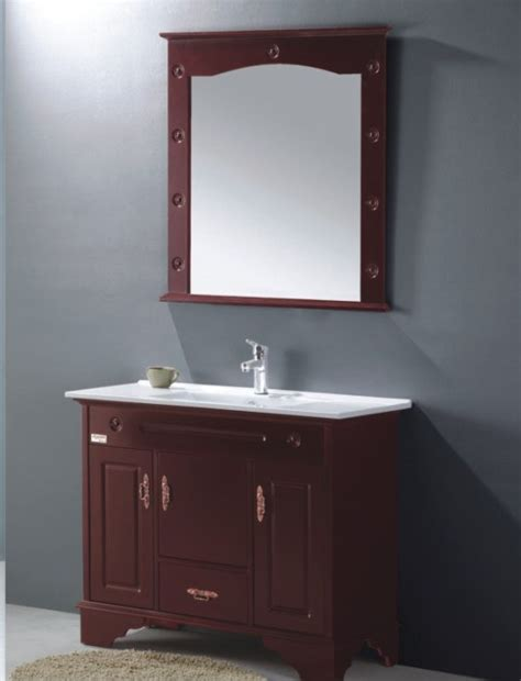 china wooden style pvc bathroom vanity cabinet in brown
