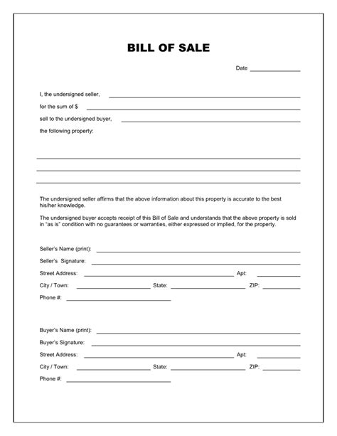 Free Printable Blank Bill Of Sale Form Template As Is Bill Of Sale Real State Pinterest Bill Of Sale Louisiana Template