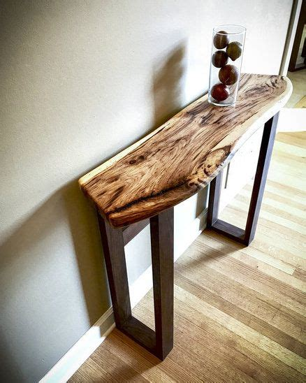 shagbark hickory  black walnut hallway table