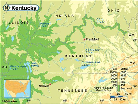 physical map of kentucky kentucky physical map map