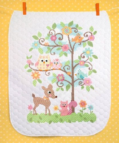 Baby Quilt Cross Stitch by Sted Cross Stitch Kit Happi Tree Baby Quilt Baby
