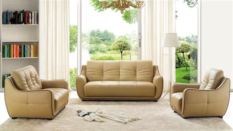 Remarkable Bonded Leather Beige Tufted Sofa Set Phoenix