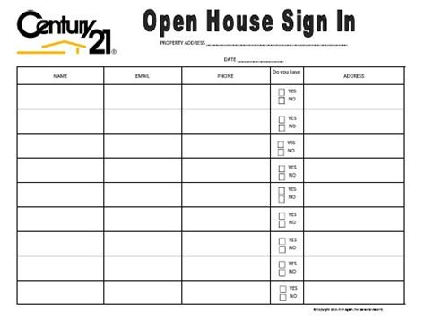 Century 21 Themed Open House Sign In Sheet By Richagent On Etsy Finance News Pinterest Electronic Sign In Sheet Template