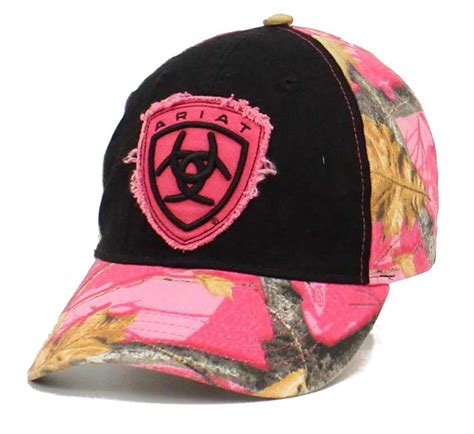 ariat womens hat baseball cap camo shield one size black