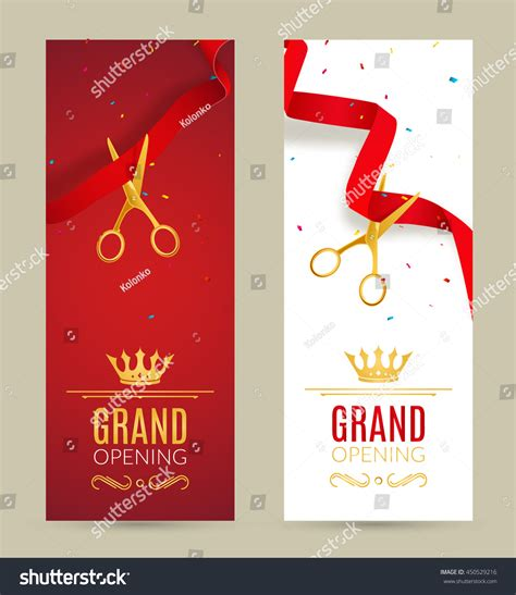 Grand Opening Invitation Banner Red Ribbon Stock Vector 450529216 Shutterstock Opening Ceremony Invitation Card Template