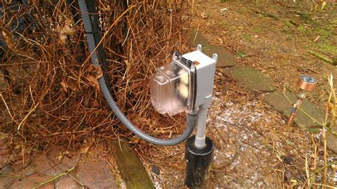 Outdoor L Post With Electrical Outlet by A Small Post Mounted Outdoor Receptacle And Switch For