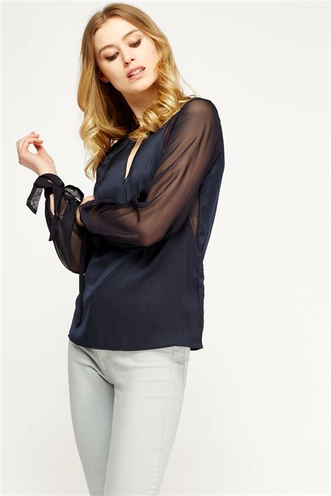 Tie Cuff Blouse navy sheer tie cuff blouse just 163 5