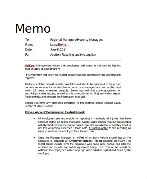 safety memo template 13 sle professional memos sle templates