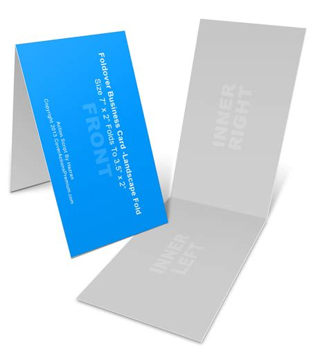Folded Business Card Template Psd by Landscape Foldover Business Card Mock Ups 7x2in Cover