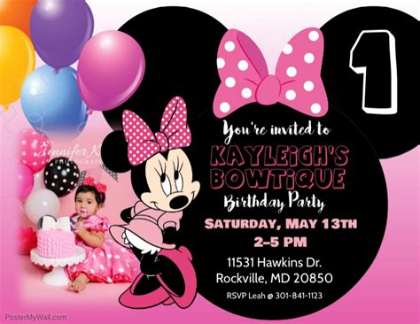 minnie mouse 1st birthday invitations templates minnie mouse birthday invitation template postermywall