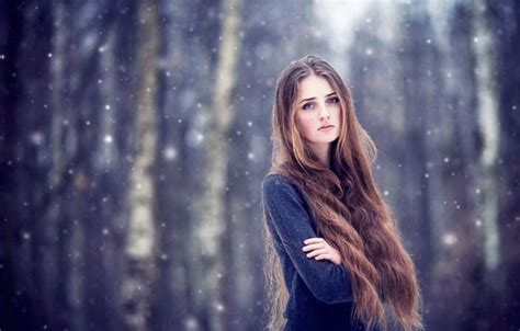girl with brown hair in snow wallpaper brown hair girl snow long haired images for