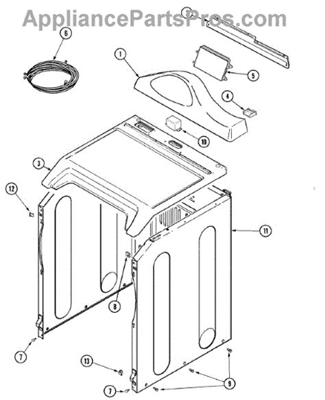 admiral dryer parts diagram parts for admiral mde7550agw panel cabinet