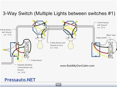 wiring a 3 way switch diagram for two lights wiring