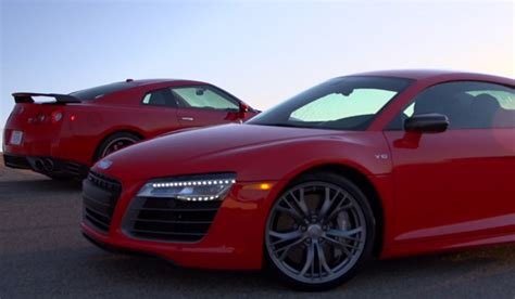 nissan gt r track edition and audi r8 v10 plus hit