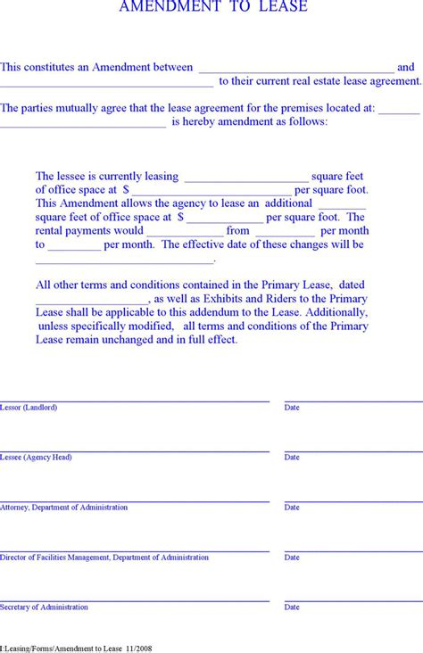 lease amendment form lease amendment form free premium templates
