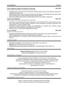 Executive Level Resume Sles by Exle Boiler Attendant Certificate