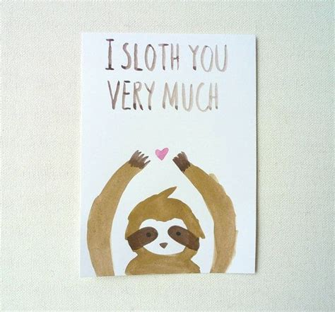 Sloth Birthday Cards I Sloth You Card I Love You Postcard Kawaii Sloth