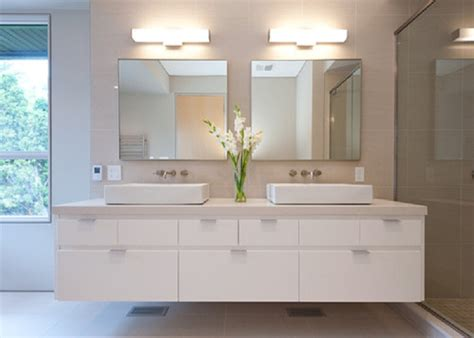 white floating bathroom vanity with top and coloured