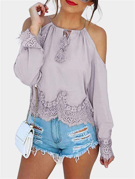 yeza detail top purple light purple lace detail cold shoulder blouse us 15 95
