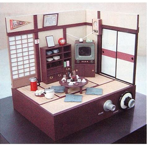 japanese living room diorama with working 1 5 inch tv
