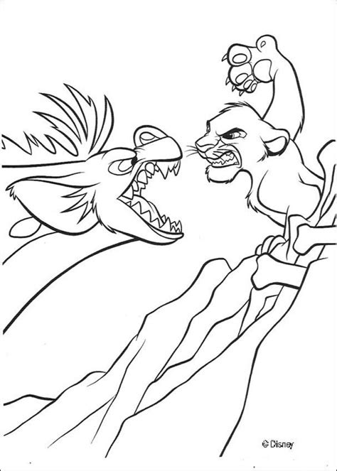 lion king hyenas coloring pages simba fights banzai the hyena coloring pages hellokids com