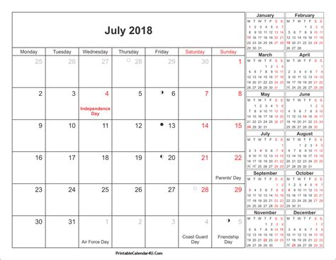 printable calendar for 2018 with holidays july 2018 calendar printable with holidays pdf and jpg