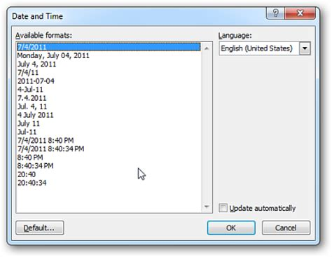 format date insert php how to change a format of inserted date in ms word