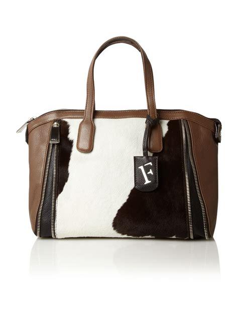 Furla Tote Bag furla cow pony tote bag in brown taupe lyst