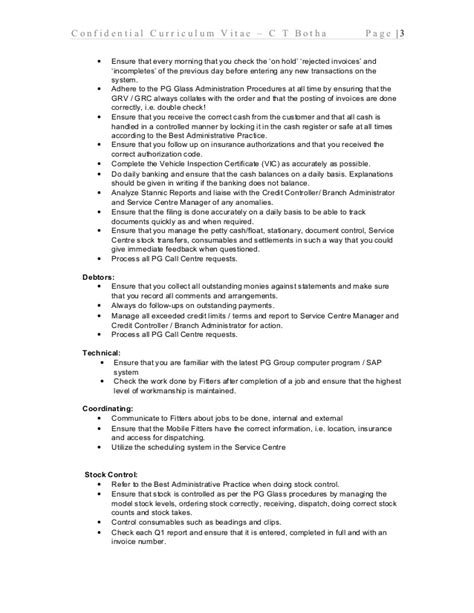confidential curriculum vitae for botha july 2015