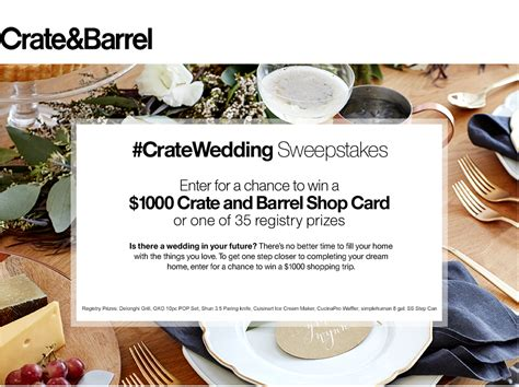Crate And Barrel Sweepstakes - his and hers wedding registry style with crate and barrel