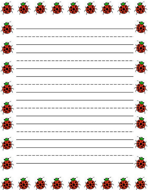 printable writing paper with margin ladybugs border free printable kids stationery free