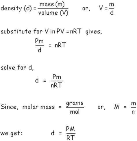 Density Of L by 1 Calculation Of Density And Molar Mass