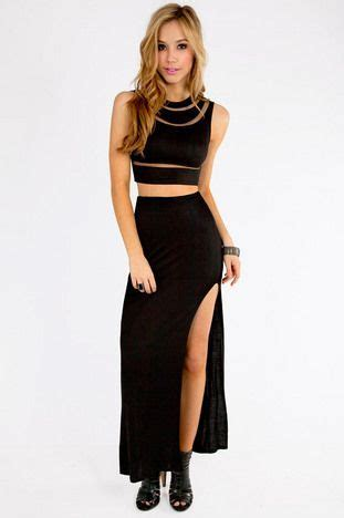 all black cutout crop top and maxi skirt tobi get in my