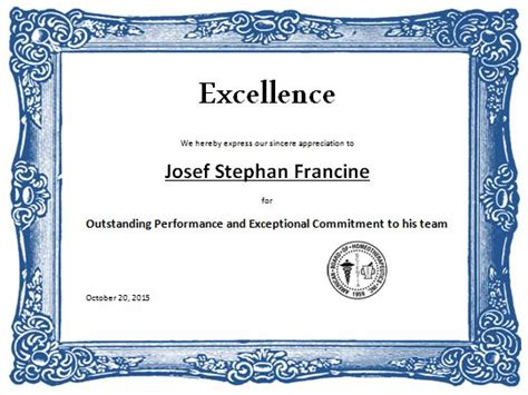 sports excellence award certificate template word