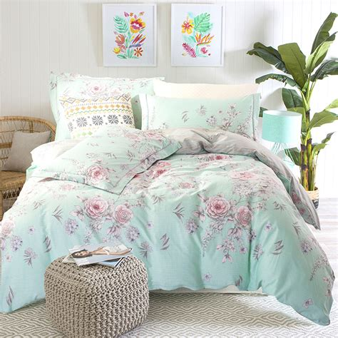 Turquoise King Bedding Sets Rosa Multiflora Pale Turquoise Bedding Sets King Size Cotton Floral Printed
