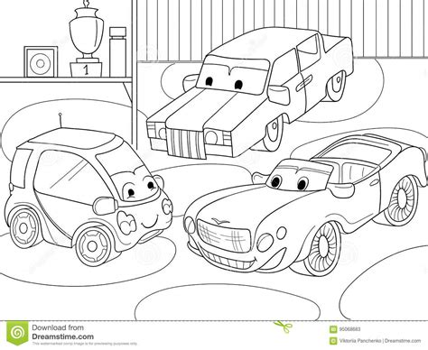 car garage coloring page childrens cartoon coloring book for boys vector