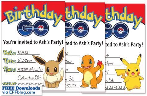 printable birthday invitations pokemon pok 233 mon go birthday go free printable invitations