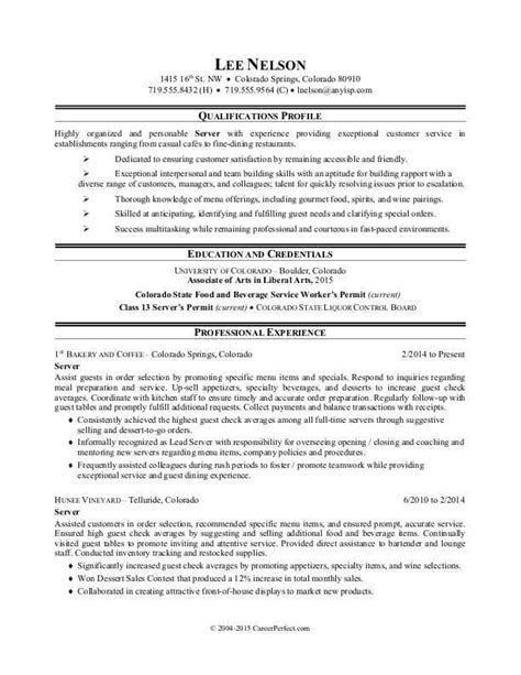 Resume For A Server by Resume Sle Resume For A Restaurant Server