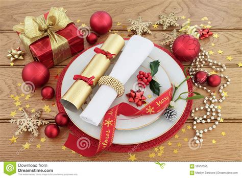 dinner gifts christmas dinner place setting stock photo image 59510556