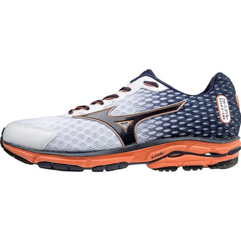 wave rider shoes mizuno wave rider 18 mens running shoes in white blue at
