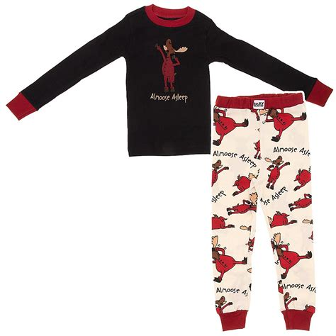 lazy on lazy one almoose asleep cotton pajamas for boys