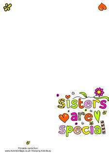 printable birthday cards activity village free printable sister cards