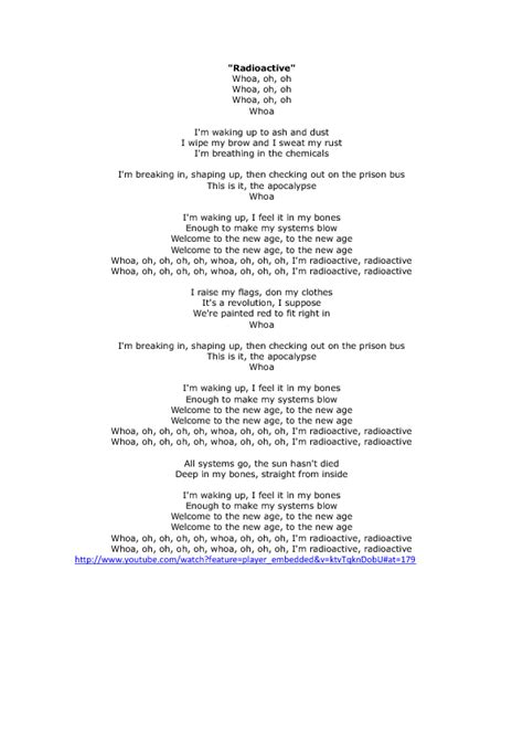 printable radioactive lyrics key to imagine dragons radioactive song worksheet