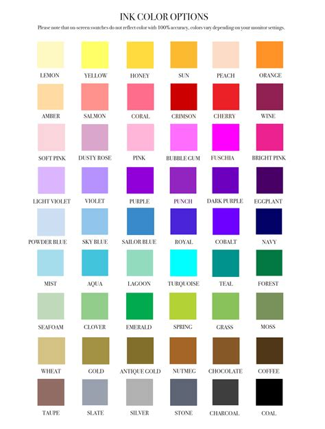 color options ink color options embellished paperie llc